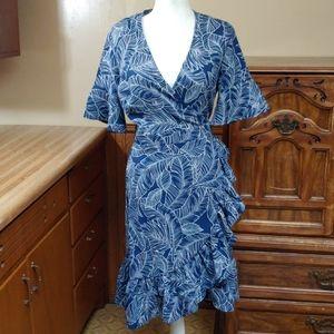LARA🆕Fashion Navy Blue Wrap Around Dress NWT L